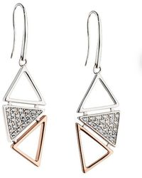 Fiorelli - Pave And Rose Gold Triangle Pave Drop Earring - Lyst