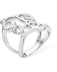 Lucy Quartermaine Rhodium Plated Tall Elements Ring - Metallic