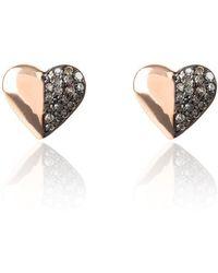 LÁTELITA London - Diamond Half And Half Heart Earring - Lyst
