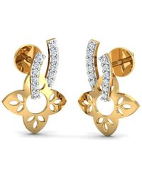 Diamoire Jewels 18kt Yellow Gold 0.22ct Pave Diamond Infinity Earrings With Ruby I YvfUdJIO
