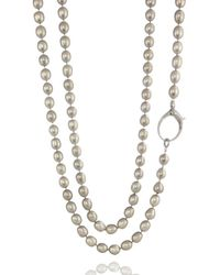 ClonferoDaPonte - Sterling Silver Pearl Light Grey Knotted Diamond Clasp L Necklace - Lyst