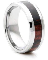 KAVALRI - Custom Dark Wood Inlay Tungsten Ring - Lyst