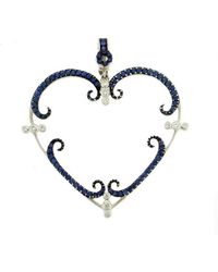 Rhonda Faber Green Designs - Blue Sapphire And Diamond Large Heart Pendant - Lyst