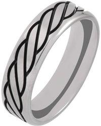 Prism Design - Titanium And Black Rope Ring (6mm) - Lyst