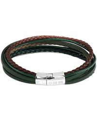 Tateossian - Silver & Green Leather Multi-strand Cobra Bracelet | - Lyst