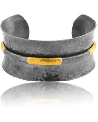 "Lika Behar Collection - Gold And Oxidised Silver ""ancora"" Open Cuff Bracelet - Lyst"