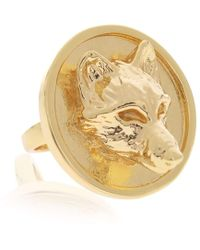 Alexa K - Large Gold Plated Brass Wolf Signature Ring - Lyst