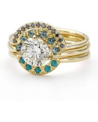 ARTEMER - Boho Wedding Ring Set With Diamond Sapphire And Turquoise - Lyst
