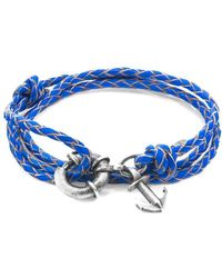 Anchor & Crew - Blue Clyde Anchor Silver & Braided Leather Bracelet - Lyst