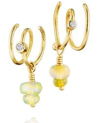 Bergsoe - Seafire Earrings With Champagne Diamond And Opal - Lyst