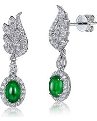 SILVER YULAN - Cabochon Emerald Diamond Wing Earrings - Lyst