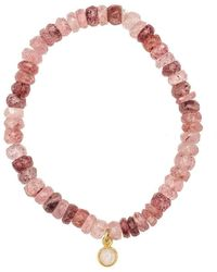 Heather Kenealy Jewelry - Russian Pink Muscovite With Moonstone Drop Bracelet - Lyst