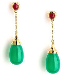 Syna - 18kt Emerald & Champagne Diamond Earrings - Lyst