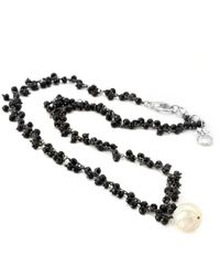 Elisa Ilana Jewelry - Sterling Silver, Black Spinel & Pearl Necklace   - Lyst