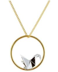 Origami Jewellery - Gold & Sterling Silver Swan Circle Origami Necklace - Lyst