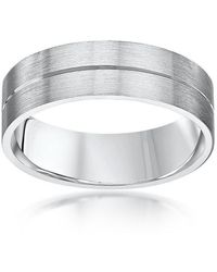 Star Wedding Rings - Palladium Flat Court Shape Matt With Polished Groove 6mm Wedding Ring - Lyst