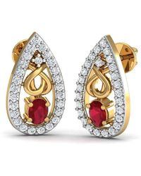 Diamoire Jewels - African Oval Cut Ruby And Diamond Earrings Hand-carved In 10kt Yellow Gold - Lyst