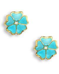 Nicole Barr - 18kt Gold Flower Turquoise Stud Earrings - Lyst