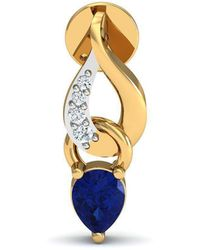 Diamoire Jewels - Prong Set Blue Sapphire And Diamond Earrings In 14kt Yellow Gold - Lyst
