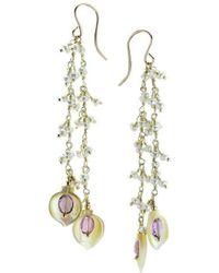 Elisa Ilana Jewelry - Yellow Gold, Amethyst & Mother Of Pearl Highborn Earrings | - Lyst
