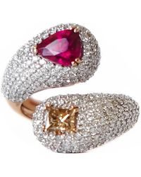 Ri Noor - Intertwined Rubellite And Fancy Diamond Ring - Lyst
