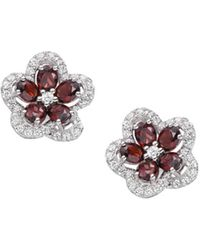 Amore Argento - Rhodium Plated Sterling Silver Camellia Aqua Earrings - Lyst