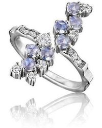 Madstone Design - Moonstone And Diamond Melting Ice Vertical Ring - Lyst