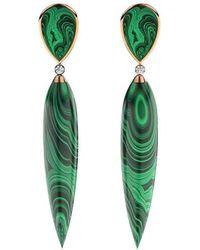MARCELLO RICCIO - Rose Gold Plated Silver, Diamond & Malachite Earrings - Lyst