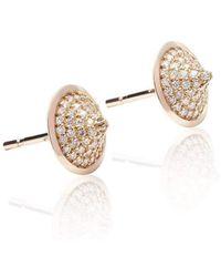 Xavier Civera - Rose Gold Domed Diamond Earrings - Lyst