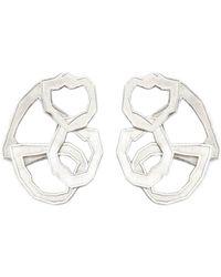 K ' S S A R A Sterling Silver Petal Earrings - Metallic