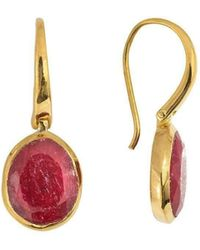 Juvi Designs - Tulum Gold Vermeil Earring With Ruby - Lyst