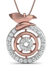 Diamoire Jewels - Inspired By Nature 10kt Rose Gold Pave Designer Diamond Pendant - Lyst