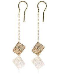 Loushelou - Champagne Diamond Cube Drop Earrings - Lyst