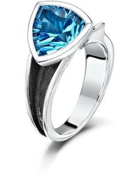 Becky Rowe - Oxidised Sterling Silver & Blue Topaz Ring | - Lyst