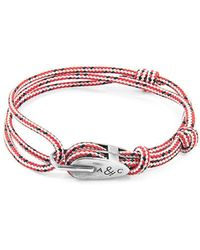 Anchor & Crew - Red Dash Tyne Silver And Rope Bracelet - Lyst