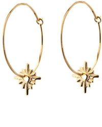 Taylor Black - Gold Sunburst Hoop Earrings - Lyst