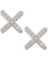 London Road Jewellery - White Gold Diamond Geo Kiss Stud Earrings - Lyst