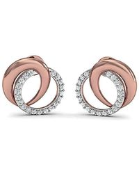 Diamoire Jewels 14kt Rose Gold Nature Inspired Pave Earrings with Premium Quality Diamonds MOpwx0PO9u