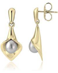 Amanda Cox Jewellery - 9kt Yellow Gold Medium Short Lily Pearl Earrings - Lyst
