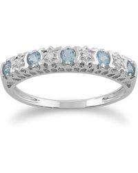 Gemondo Jewellery - Blue Topaz And Diamond Half Eternity Band Ring - Lyst