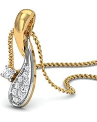 Diamoire Jewels - Hand-hammered Ribbon 18kt Yellow Gold Pendant With Diamonds Inspired By Nature - Lyst