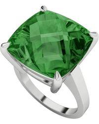 StyleRocks - Hydrothermal Emerald Cushion Cut Checkerboard Silver Ring - Lyst