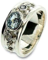 Will Bishop - White Gold, Blue Topaz & Diamond Ring - Lyst