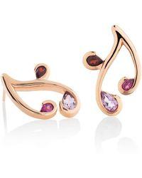 MANJA Jewellery - Tana Rose Gold Amethyst, Rhodolite & Garnet Earrings - Lyst