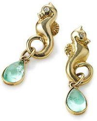 Serena Fox - Seahorse Yellow Gold Paraiba Tourmaline Earrings - Lyst