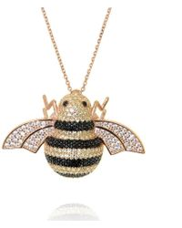 Cosanuova - Rose Gold Plated Sterling Silver Busy Bee Necklace - Lyst