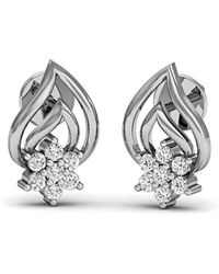 Diamoire Jewels Embellished Pave Diamond Earrings in 18kt White Gold 4UlbopSR