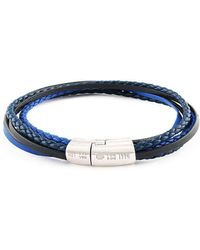Tateossian - Silver & Navy Leather Multi-strand Cobra Bracelet   - Lyst