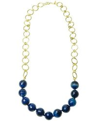 Purnell - Gold And Blue Agate Disco Icon Necklace - Lyst