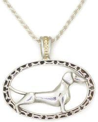 Donna Pizarro Designs 14kt Weimaraner Necklace With Aquamarine Eyes 1ich9j